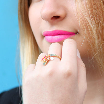 BAGUE ORANGE & ROSE