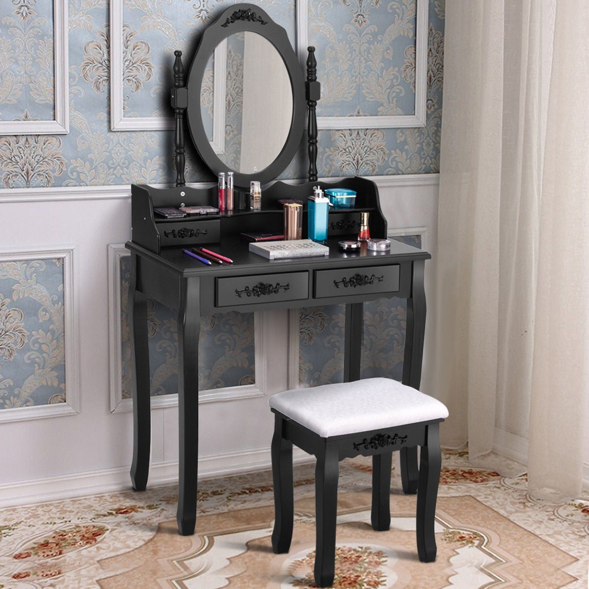 4 Drawers and Oval Mirror Makeup & Jewelry Storage Set
