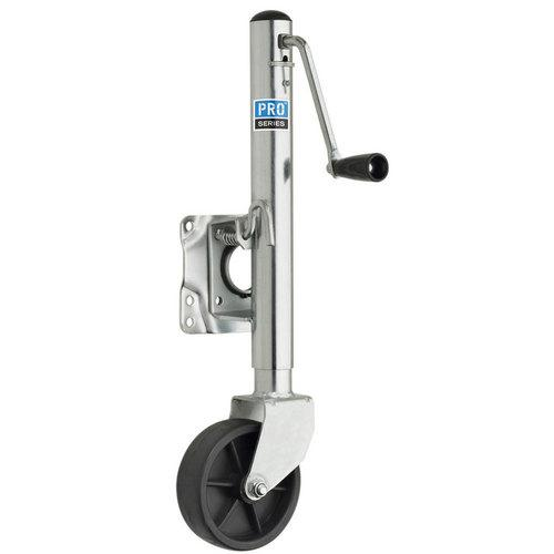 "Pro Series 1000 lbs Zinc Plated Swivel Jack w/6"" Poly Wheel"