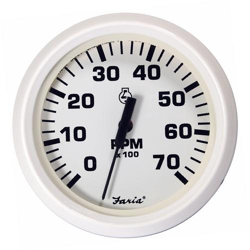 "Faria Dress White 4"" Tachometer - 7000 RPM (Gas - All Outboards)"