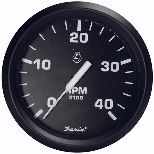 "Faria Euro Black 4"" Tachometer - 4000 RPM (Diesel - Magnetic Pick-Up)"