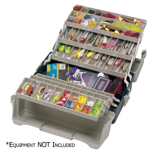 Plano Large Hip Roof Tackle Box w/6-Trays - Dark Green Metallic/Beige