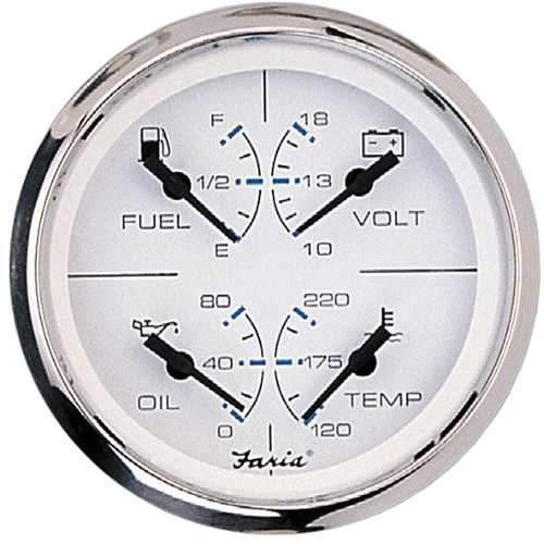 "Faria Chesapeake SS White 4"" Multifunction 4-in-1 Combination Gauge w/Fuel Oil Water &amp Volts"