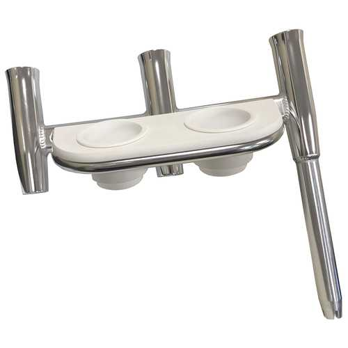 Tigress Offset Triple Rod Holder w/Cup Holders - Port Side - Polished Aluminum
