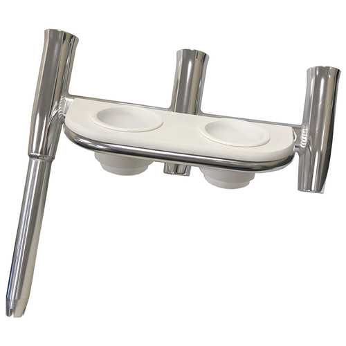 Tigress Offset Triple Rod Holder w/Cup Holders - Starboard Side - Polished Aluminum