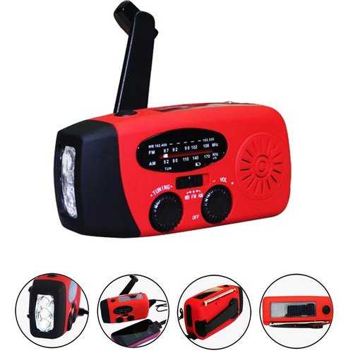 Emergency Weather Radio -NOAA/AM/FM and Solar Flash Light with Built in Phone Charger