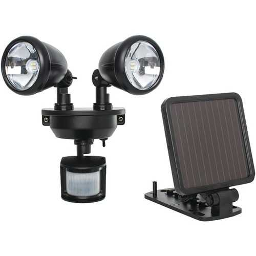 MAXSA Innovations 44215 Solar-Powered Dual-Head LED Security Spotlight (Black)
