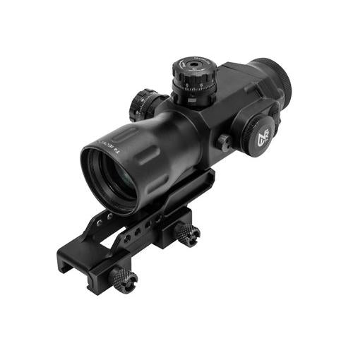 UTG Prismatic 4x32 T4 Rifle Scope, 36-Color, Mil-Dot Reticle, 1/4 MOA, 34mm Tube