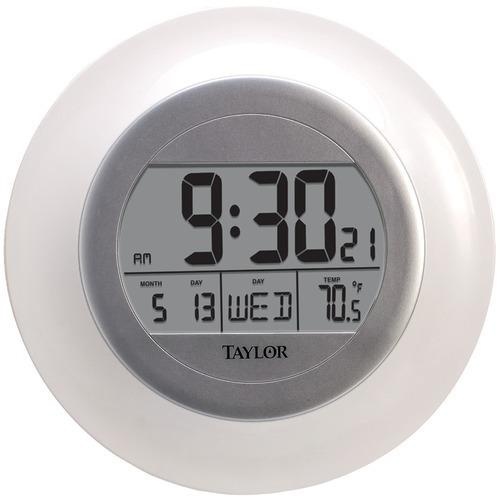Taylor Atomic Wall Clock With Thermometer (pack of 1 Ea)