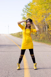 ROBE-TUNIQUE JAUNE DOS TRANSPARENT