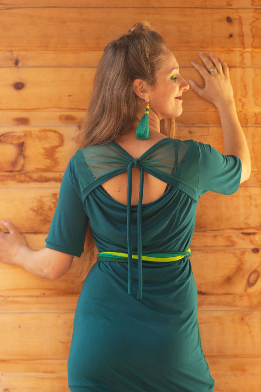 ROBE-TUNIQUE VERTE DOS TRANSPARENT