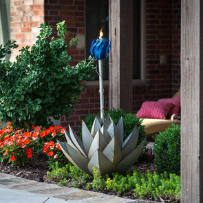 Lit Blue Agave Torch in flower bed