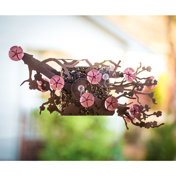 Cherry Blossom Bird Feeder attached to window with suction cups
