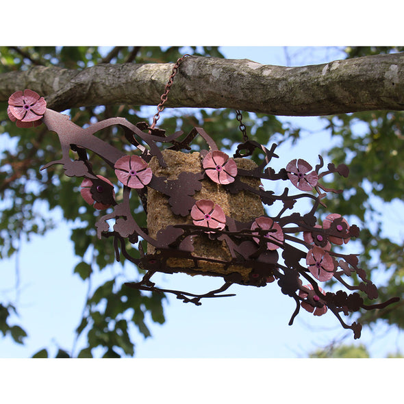 Cherry Blossom Bird Feeder hanging from tree branch