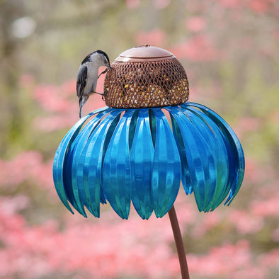 Blue Coneflower Bird Feeder with one bird eating
