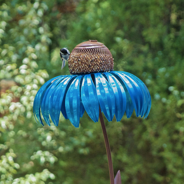 Blue Coneflower Bird Feeder with green outdoor background