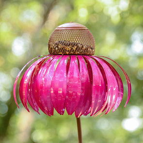 Pink Coneflower Bird Feeder with green outdoor background