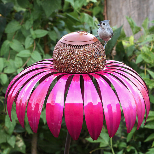 Pink Coneflower Bird Feeder with one bird perched