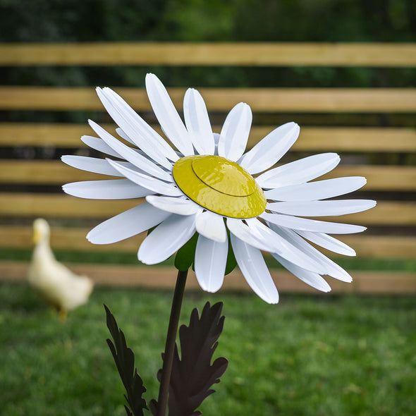 White Daisy Torch with cover, duck in background