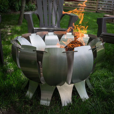 Tanami Stainless Steel Fire Pit in backyard