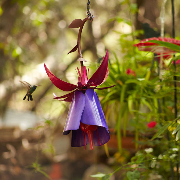 Fuchsia Hummingbird Feeder hanging in garden