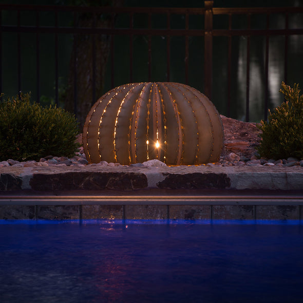 Golden Barrel Cactus, lit from inside, next to pool