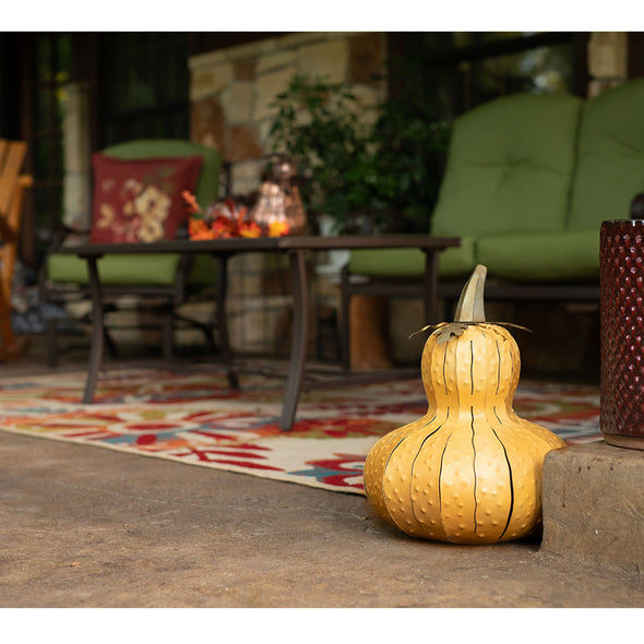 Yellow Gourd Luminary on patio