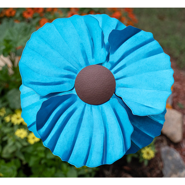 Blue Himalayan Poppy Torch with cover, from above