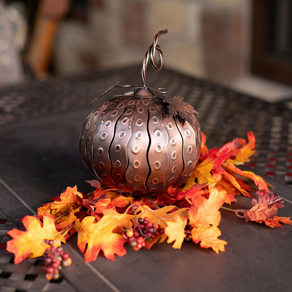 Mini Pumpkin Luminary with fall leaves