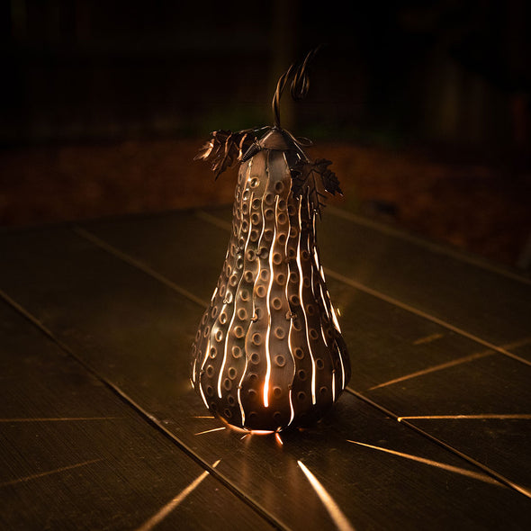 Tall Mini Gourd Luminary lit up
