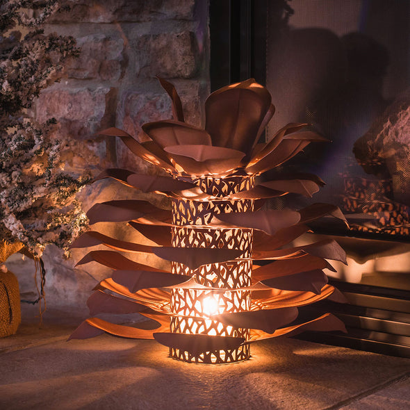 Pine Cone Luminary lit up in interior scene