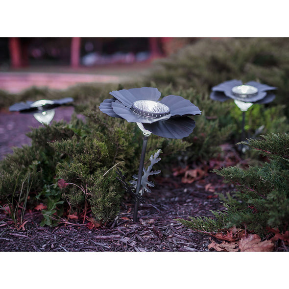 Three Bronze Poppy Solar Lights in landscape bed