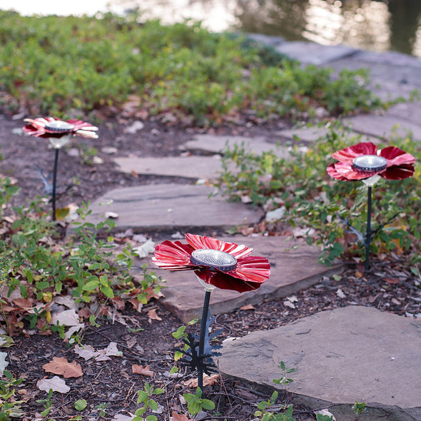Three Red Poppy Solar Lights next to garden pathway
