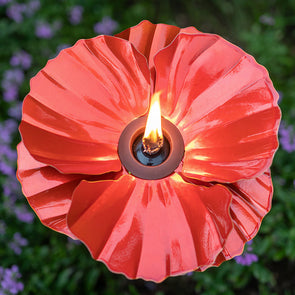 Red Poppy Torch with flame lit, from above