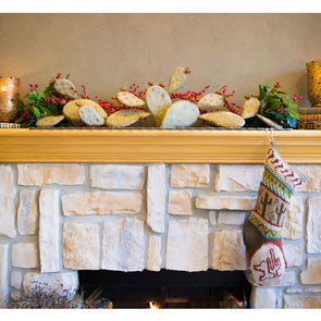 Prickly Pear Mantel Sculpture on fireplace Mantel with stocking
