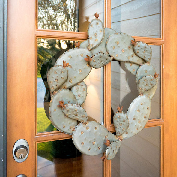 Metal Prickly Pear Wreath hanging on front door
