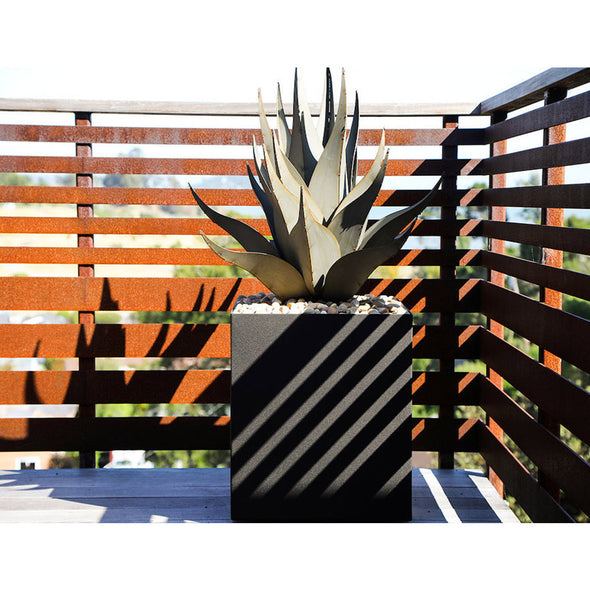 Metal Sharkskin Agave in contemporary square pot on deck