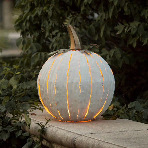 White steel Pumpkin Luminary on porch