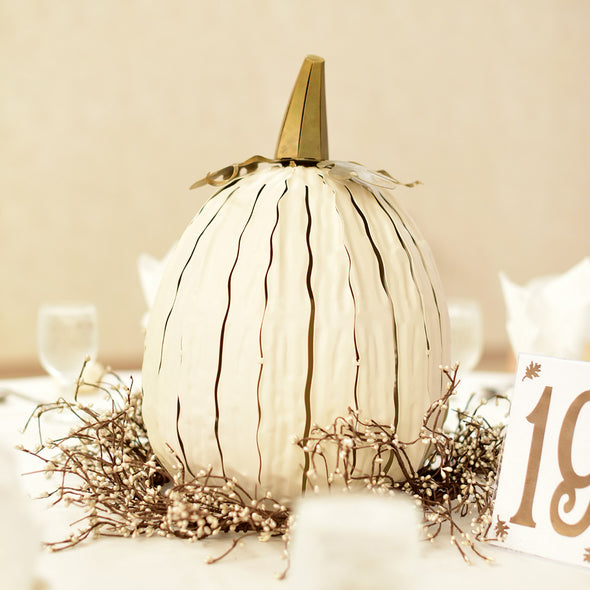Tall White Pumpkin Luminary as table centerpiece