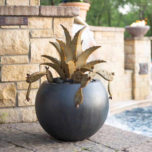 Pot with steel agave and prickly pear next to pool