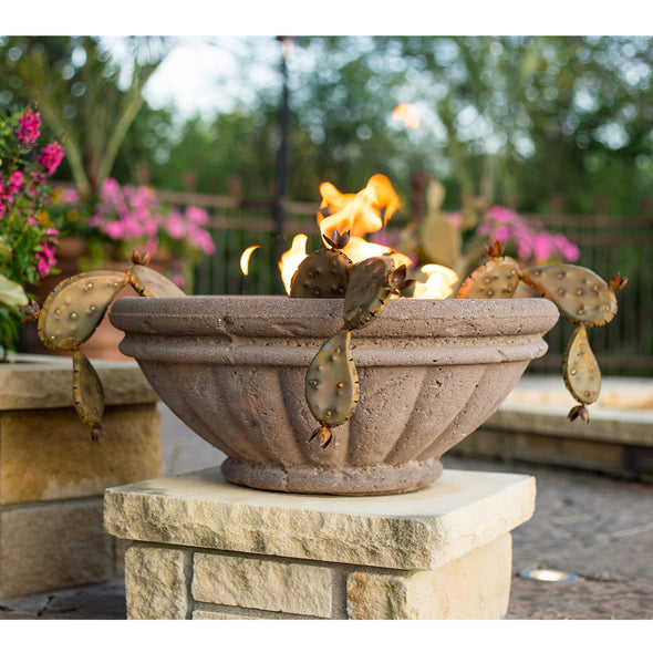 Landscape pot with flowers and steel prickly pear pops