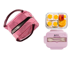 Glass Bento Lunch Box with Locking Lids + FREE Insulated Bag