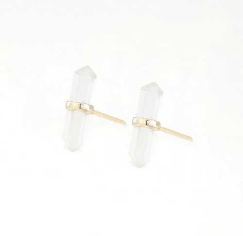 CLEAR CRYSTAL QUARTZ STUDS