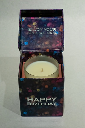 Lights Navy Happy Birthday Music Box Candle