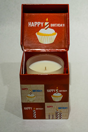 Cupcake Red Happy Birthday Music Box Candle
