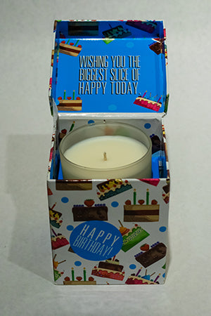 Cake Blue Happy Birthday Music Box Candle