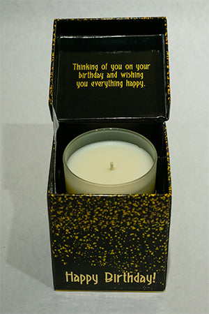 Confetti Black Happy Birthday Music Box Candle
