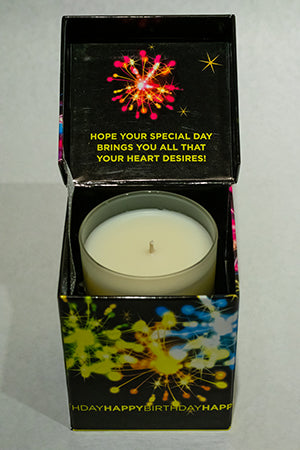 Fireworks Black Happy Birthday Music Box Candle