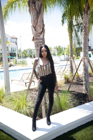 Jasmina- Mesh Nude and Black Striped Bodysuit