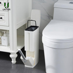 6L Plastic Trash Can with Toilet Brush Set